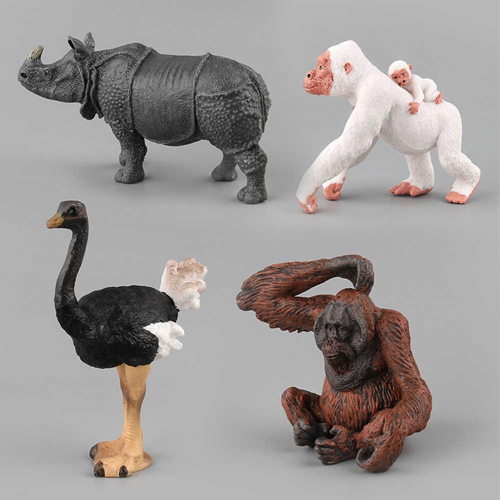 Simulação Animal Brinquedos Para Crianças Caçoa o Presente Toy Crocodilo Avestruz Orangotango Selvagem Javali Lynx Modelo Figura de Ação Brinquedos Bonecas Estatueta