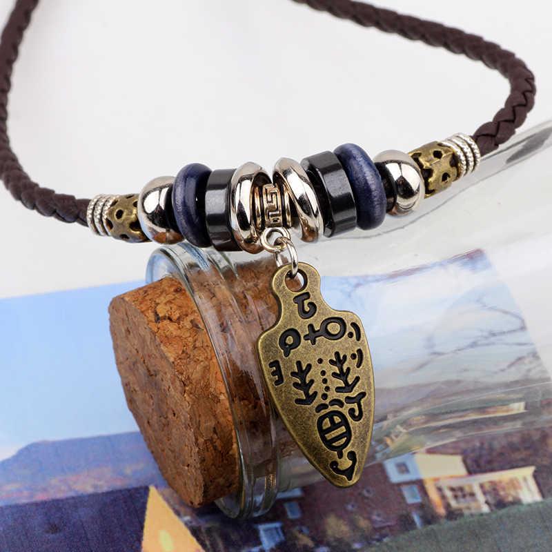 UBEAUTY skórzany przewód tkania naszyjnik moda Hipster w stylu Vintage mężczyźni naszyjnik Unisex ze stopu Charms naszyjniki dla kobiet mężczyzn biżuteria