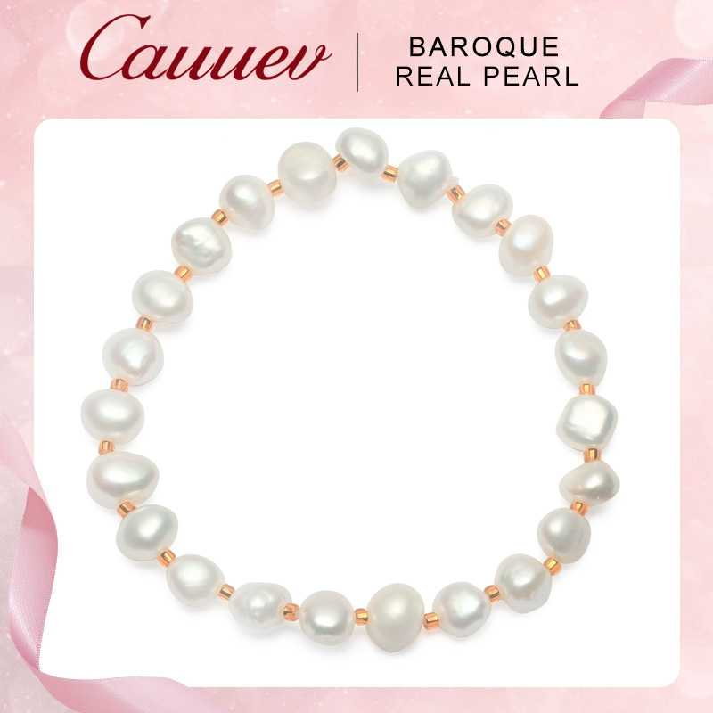 Cauuev Genuine Natural Freshwater Baroque Pearl Bracelets Bangles For Women Vintage elastic Baroque pearl jewelry gifts 2019