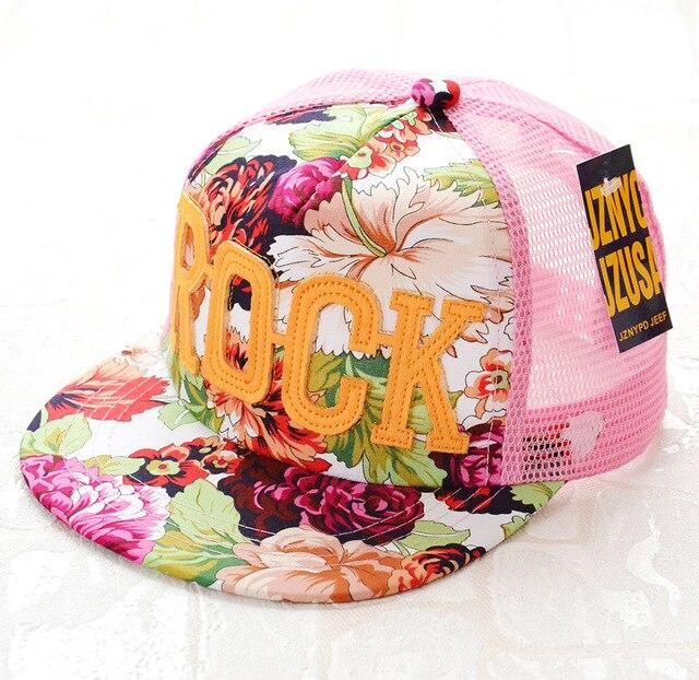 2018 Flowers Print Summer Rock Children's Baseball Caps Baby Boys Girls Summer Sun Mesh Caps Snapback Hat
