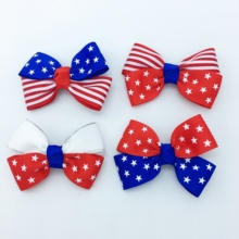4PCS/SET 2.5 inches 4th Of July For Girls American Flag Striped Hair Bows Kids  Drop Shipping