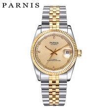 862c1e3dbb7 Relógio De Ouro Dos Homens de luxo 36mm Parnis Japão 21 Jeweles 316L Aço  Inoxidável Dos Homens Movimento Mecânico Automático rel.