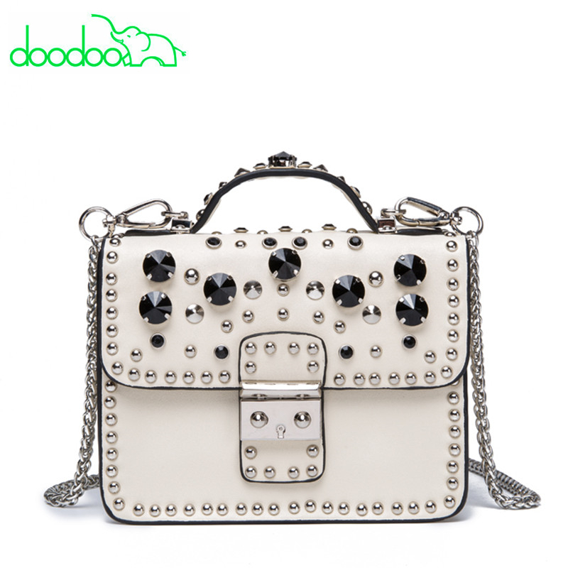 Goddess! Luxury Brand Pearl Rivet Design Lady Leather Messenger Bag Women Handbag White Tote Bag Famous Designer Shoulder Bags unique design women leather canvas women big tote bag knit hollow out basket bag lady brown shopping bucket bags famous designer