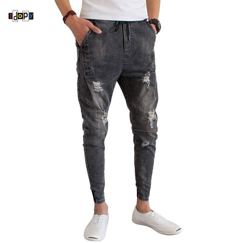 Idopy Fashion Mens Trend Stretchy Harem Jeans Drawstring Comfy Drop Crotch Harem Cuffed Trousers Denim Joggers For Male