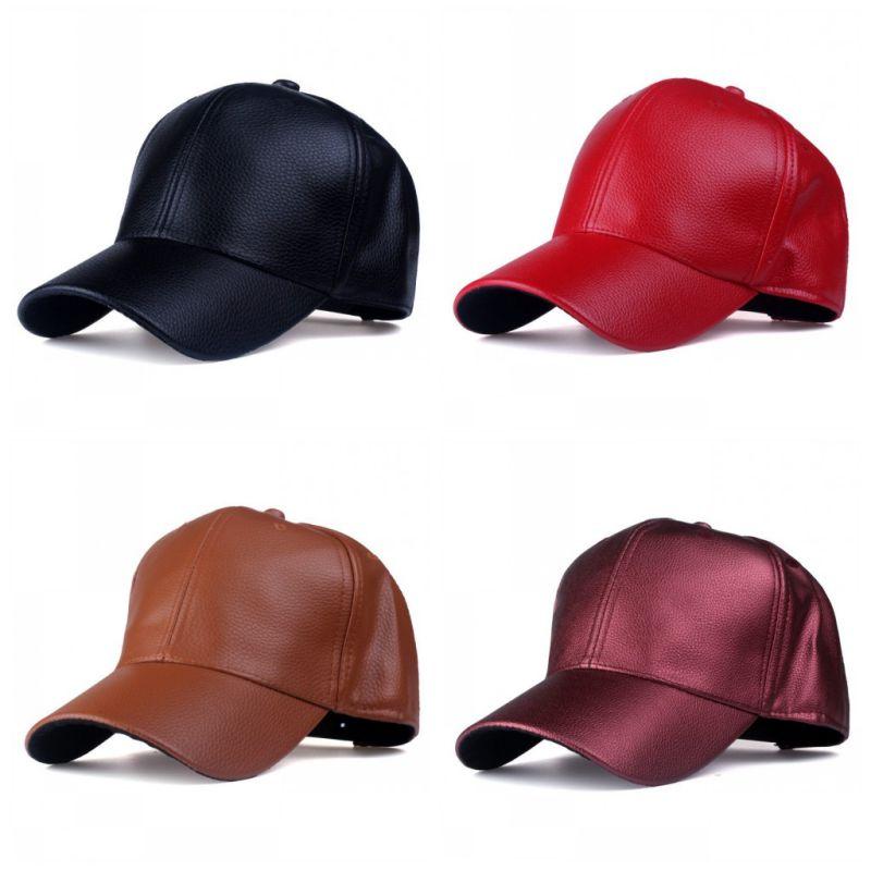 a1c652c33e45f 2019 New Hot PU Leather Baseball Cap Fashion Solid Peaked Cap Hats  Adjustable Men Women Caps 4 Colors