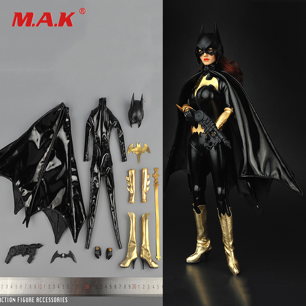 цена 1/6 Scale Female BATGIRL Suits Clothes Mask Set For 12 inches Female Action Figure Accessories
