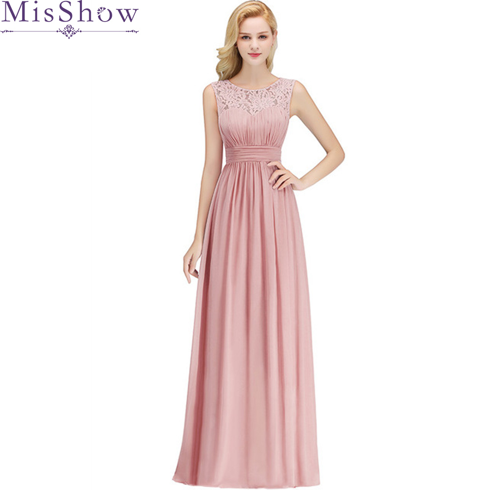 Women Adult Chiffon Long   Bridesmaid     Dresses   Women Ladies Scoop Neck Bridal Formal Maxi Prom Gown Lace Wedding Party   Dresses