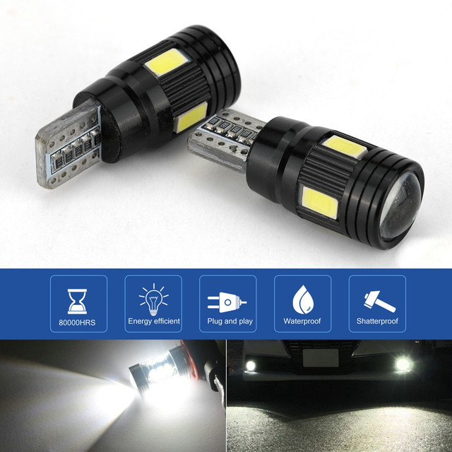 2x LED Lamps For Cars White T10 5630 6SMD High Power Car Wedge License Plate LED Light Bulbs Width Lamps Reading Panel Lights