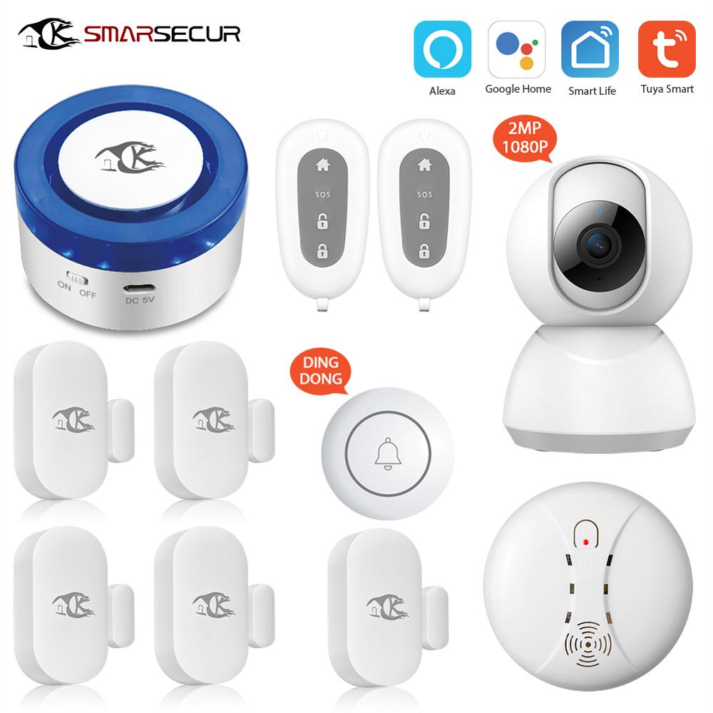 Smart Wireless WiFi alarm Siren auto dial smart life app control compatible with Alexa