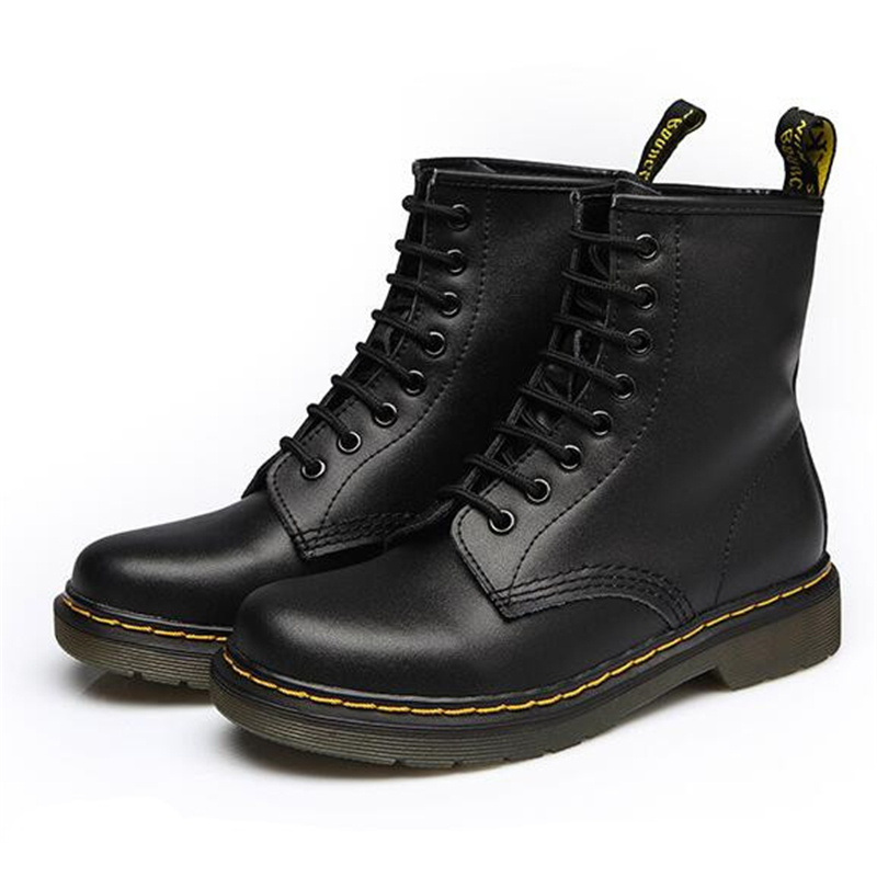 ФОТО All Season Dr Genuine Leather Martin Boots Women Martin Boots Female Cowhide Ankle Boots Casual Shoes Women Motorcycle Boots