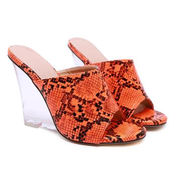 Women's Sandals Crystal Wedge Snake Women's Slippers 2020 New Super High Heels Wedges Shoes For Women Color Wear Ladies Shoes 4