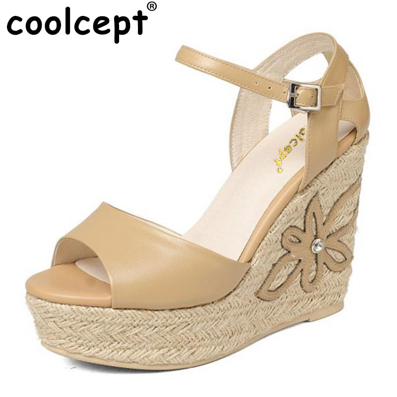 Coolcept Lady Genuine Leather High Heel Sandals Women Platform Summer Shoes Sexy Party Club Sandal Female Footwear Size 34-39 coolcept free shipping genuine leather quality high heel wedge sandals women fashion platform heels sandal r4222 eur size 34 39