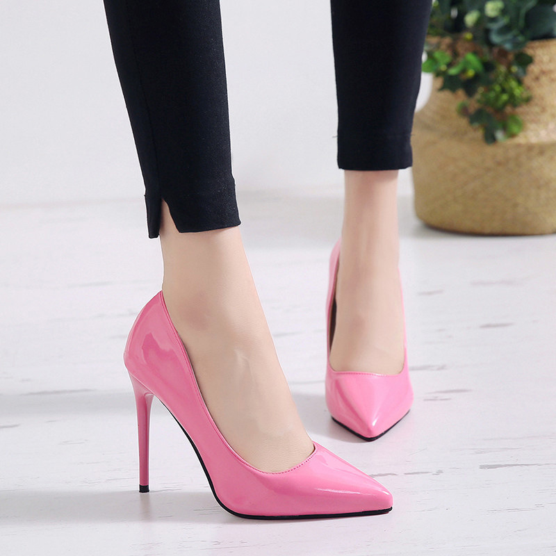 New Pointed Toe Leather Women Pumps Fashion Office Shoes Women Sexy High Heels Shoes Thin Heel Women 's Wedding Shoes 12