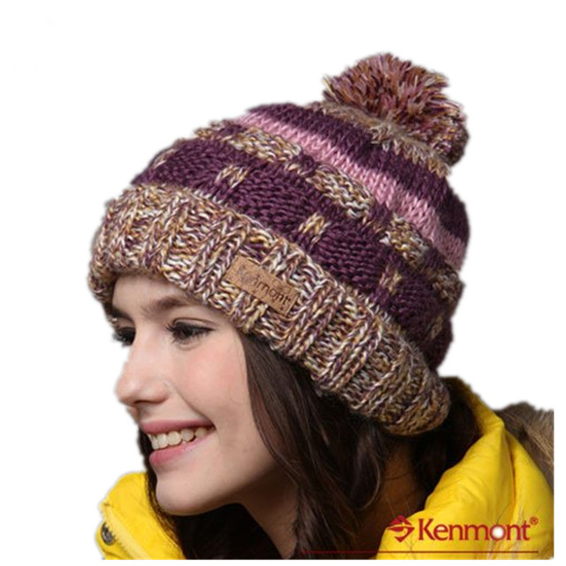 Kenmont Hats Caps Women Winter Of Two Colors Hot Promotional Wool Hat Hand  Knitted Beanie Hat KM-1128 379ab58e267