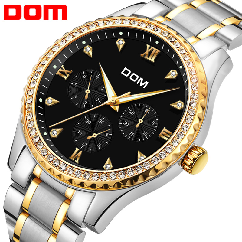 DOM Mens Watches Top Brand Luxury Waterproof Gold Quartz reloj de - Relojes para hombres