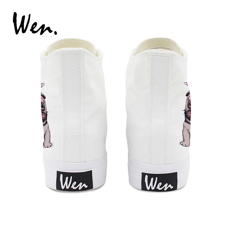 Wen Original Design Canvas Womens Shoes Pug Pet Dog Pink Headband Bowknot High Top Laced White Black Sneakers Mens Skateboard in Skateboarding from Sports Entertainment