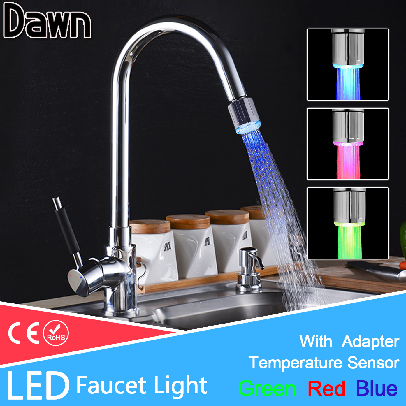 LED Faucet Light Temperature Sensor RGB Glow Shower Water Shower Head Stream Sink Tap Torneira Bathroom Kitchen Accessories цена