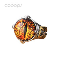 Gothic 925 Sterling Silver Glass Evil Eye of Sauron Ring Jewelry for Men Adjustable Free Shipping