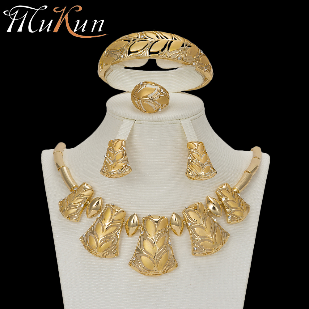 MuKun party bridal jewelry sets trendy gold color jewellery sets for women nigerian wedding african beads valentines day gift