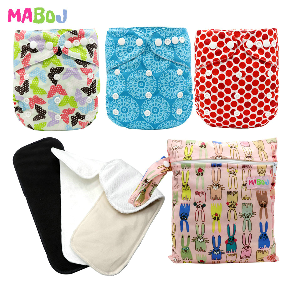 MABOJ Pocket Cloth Diaper One Size Resuable Nappy AIO Waterproof Diapers Bmaboo Charcoal Microfiber Insert