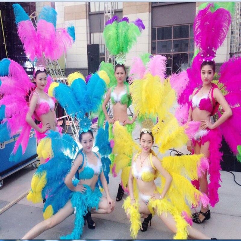 Певица танец шоу для женщин пикантные перо Крылья вечерние партии Самба косплэй фестиваль карнавальные костюмы перо backboard для
