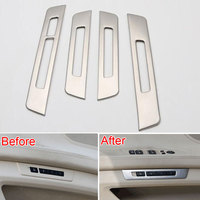 4pcs Set Stainless Steel Door Seat Memory Switch Button Cover Trim Frame Decoration For 7 Series