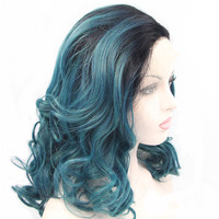 Black Ombre Dark Blue Green 2Tone Synthetic Hair Lace Front Wigs Wavy Pervado Hair High Temperature Fiber Glueless Cabelo Pelo