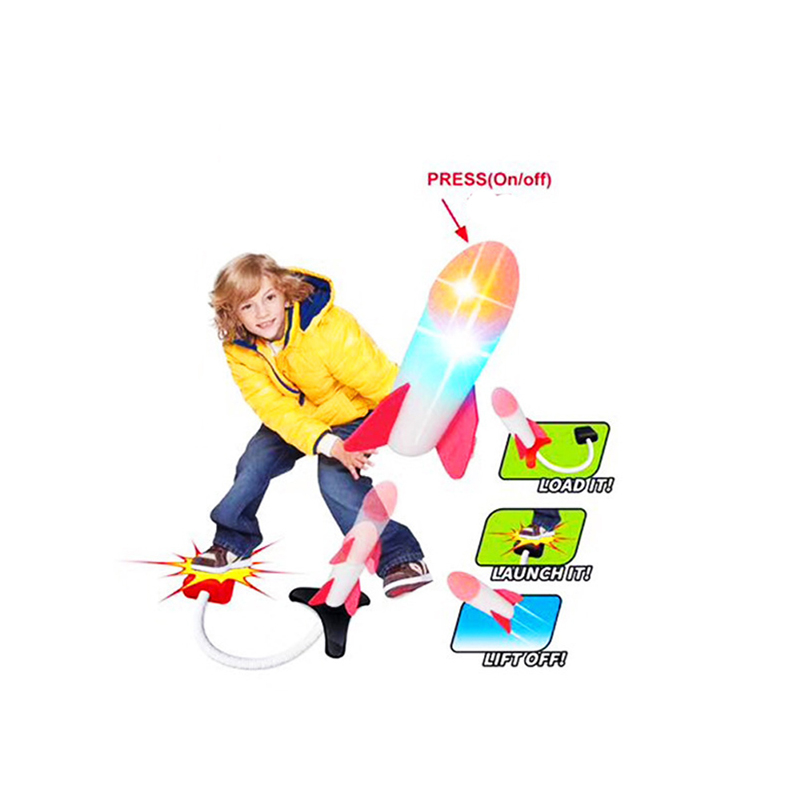 Kids Air Pressure Rocket Launcher Step Pump Children's Foot Toy Foam Rocket With LED Outdoor Games Light Toys For Children Gift