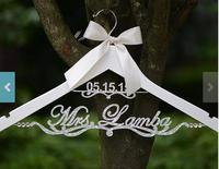 Glitter Silver Personalized Wedding dress Hangers Custom DATE Bridal Bride MRS Name Bridesmaid Gift Hanger party gifts favors