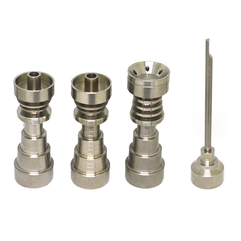 Domeless Titanium Nail 10&14 & 18 & 19 mm 3 Parts Adjustable Male& Female  Grade 2 Universal 6 In 1 Titanium nail Free Shipping