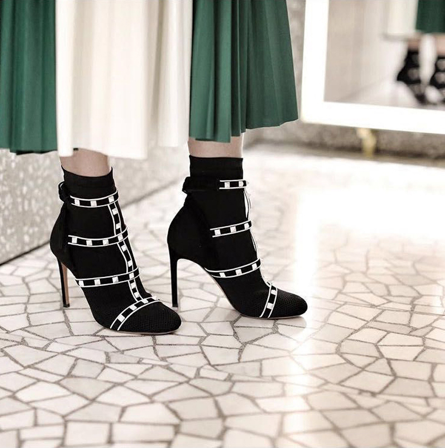 Stylesowner spring new women sock boot sexy thin high heel rivet stud belt slip on stretch knit ankle boots fashion runway shoes