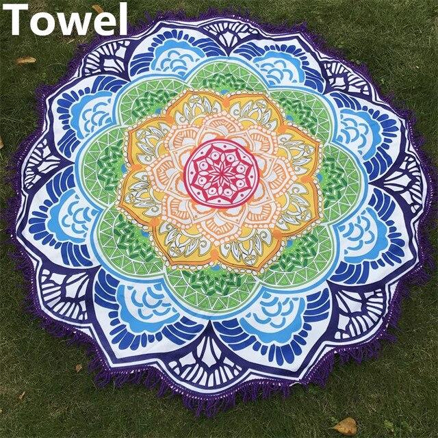 500c9a9525d78 Microfiber Beach Towel Tassel Indian Mandala Tapestry Lotus Printed Bohemian  Yoga Mat Bikini Cover-Up Blanket Bath Towel