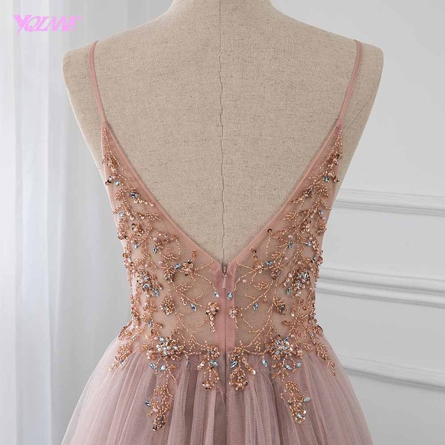 Sweet Dusty Pink Crystal Prom Dresses Long Straps Spaghetti See Through Tulle Evening Gown Slit Right YQLNNE 5