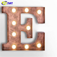 FUMAT Cafe Logo Wall Light Letters E Wall Lamps Metal Letters Light Vintage Art Deco Lamp Clothing Store Signboard Wall Sconce