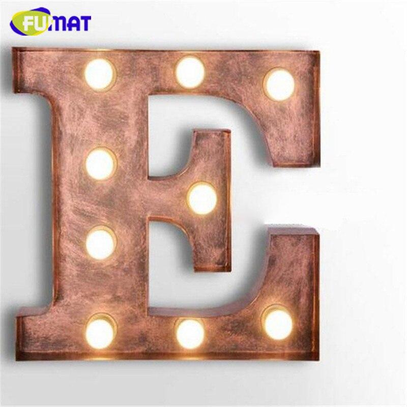 FUMAT café Logo applique murale lettres E appliques métal lettres lumière Vintage Art déco lampe vêtements magasin enseigne applique murale