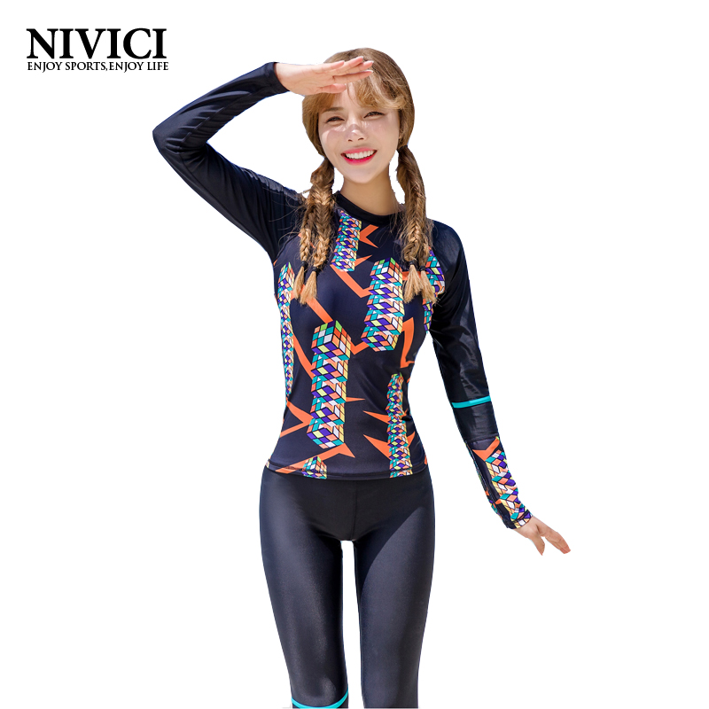 ФОТО 2017 Hot Long Sleeve Diving Wetsuit Women Two Pieces Surf Diving Suits Women Round Neck Swimsuit Padding Body Suits Top Pants