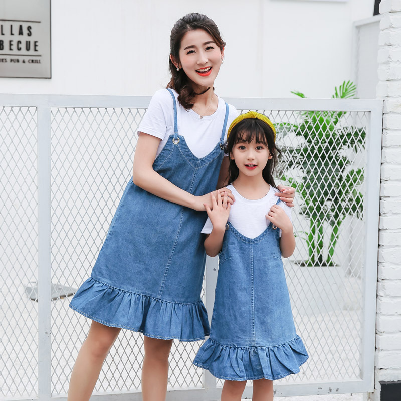 Mother And Daughter Dress Clothes Family Matching Outfits Cowboy Shirt+skirt Suits Family Clothing  Two Set Suit Family Clothes