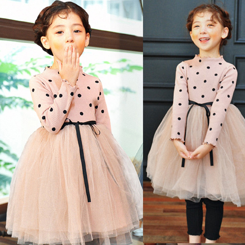 2 3 4 <font><b>5</b></font> 6 Years New 2019 Toddler Little Girls Spring Pink Long Sleeve Knitted Mesh Ball Gown Princess Dress For Girls Dresses image