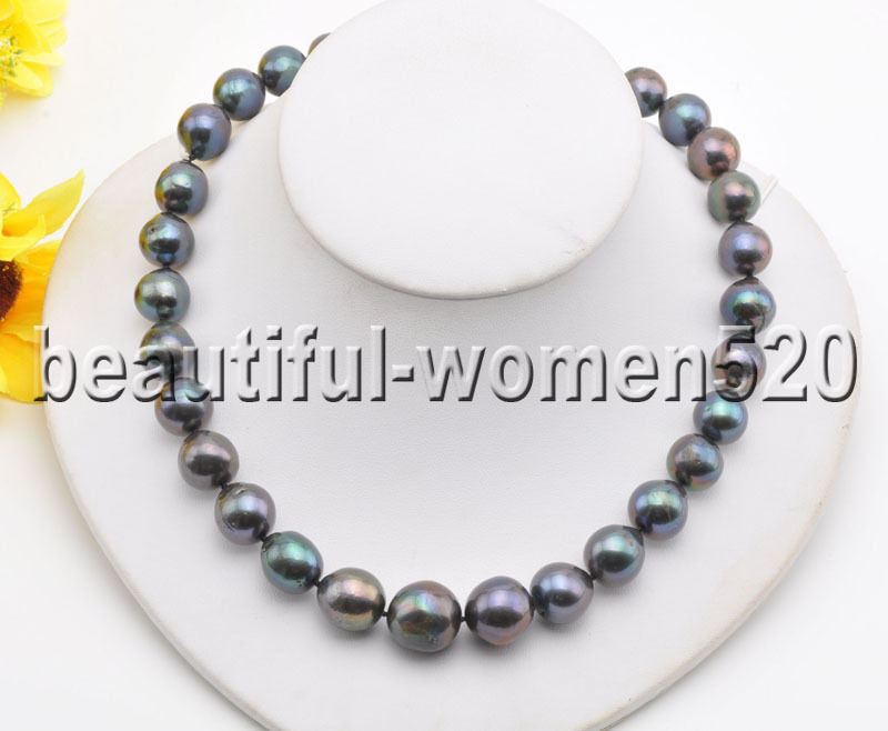 Z8513 15mm Black Almost Round Edison Keshi PEARL NECKLACE 17inchZ8513 15mm Black Almost Round Edison Keshi PEARL NECKLACE 17inch