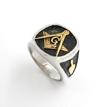 Cool Mens Silver Gold Free Mason Freemasonry Masonic Ring 316L Stainless Steel Band Ring