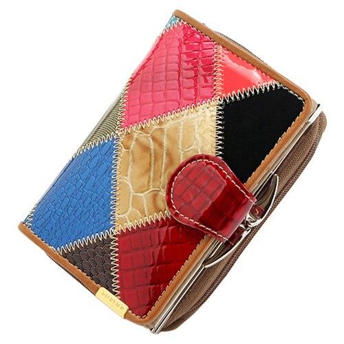 5pcs of Qian Xi Lu Patent leather wallet female short paragraph lady handbag zip fastener wallet elegant wallet цена и фото