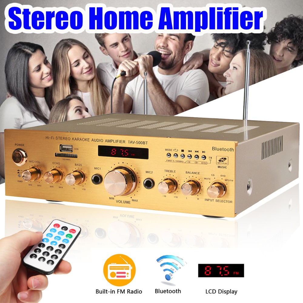1200W 4ohm HIFI Power Amplifier Audio Bluetooth Stereo 2 Channel Karaoke FM KTV USB/AUX Power Amplifier 220V With Remote Control hifi 2 1 channel edr bluetooth car amplifier subwoofer usb u disk auto stereo audio amplifier with remote control power adapter