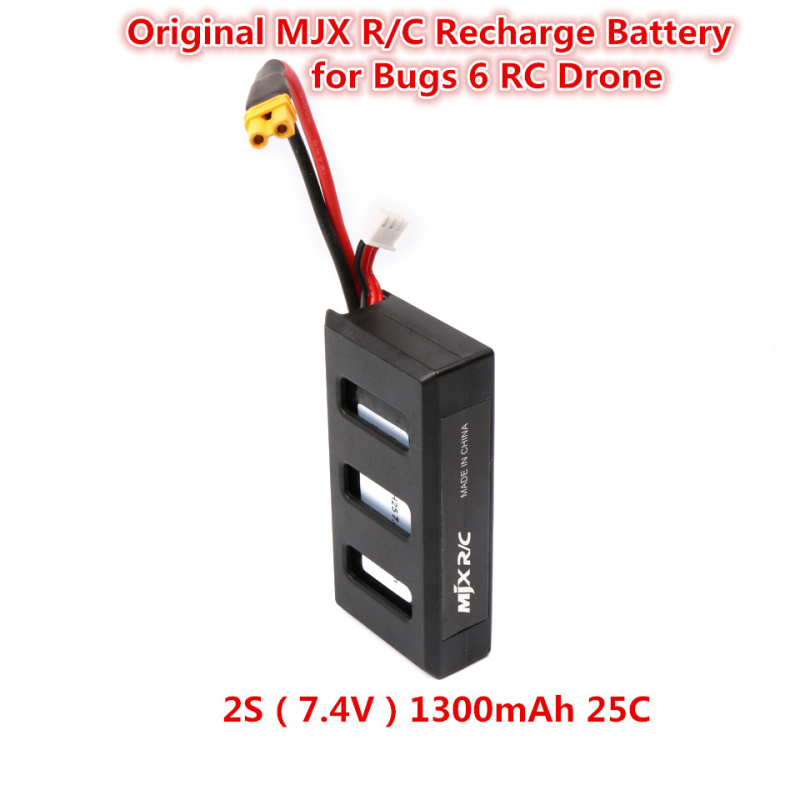 Hot sell 2S 25C 7.4V 1300 mAh Lipo LiPo Battery spare parts For MJX B6 Bugs 6 RC Quadcopter Drone Helicopter Airplane Toy Parts mjx x600 motors clockwise anti clockwise motor for mjx x600 rc quadcopter drone helicopter airplane toy parts wholesale