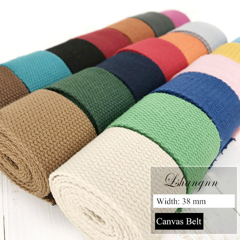New 10 Meters 38mm Polyester/cotton Ribbon Canvas Webbing /Strap Tape For Bag Strapping Belt Making Sewing DIY Craft For Home
