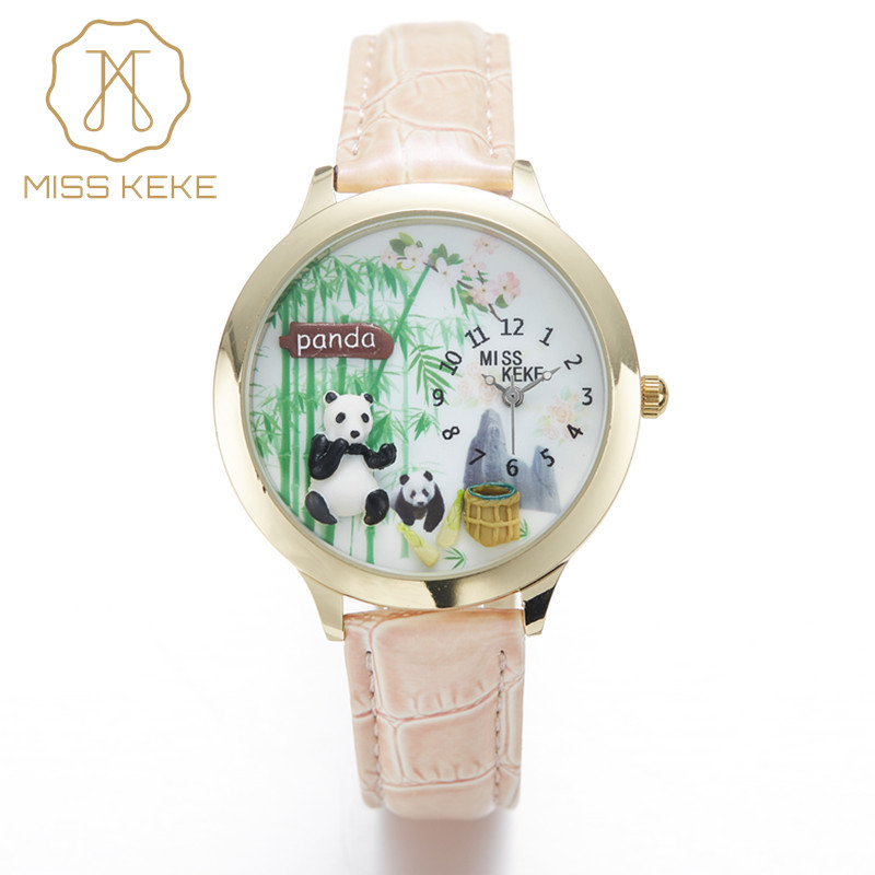 Watches Kids MISS KEKE 3D Clay Lovely Panda Children Watches Cute Chinese Bamboo Quartz Women Watch Kongfu PU Strap Wristwatches miss keke women watches 2017 clay 3d mini cute world city young pretty girl kids children watch pink pu strap wristwatches