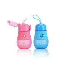 UPSTYLE BPA Geben Frei Wasserflasche Peeling Kunststoff Sport Wasserflasche mit Stroh und Seil Kinder Wasserflasche, 280 ML, PC514/PC515