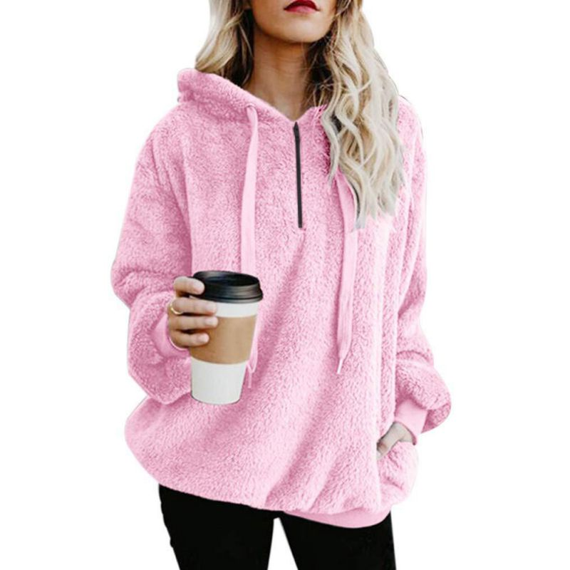 Autumn Winter Coat Women Cropped Hoodie Soft Warm Pullover Top Loose Oversized Hoodie Long Sleeve Casual Fleece Tops thumbnail