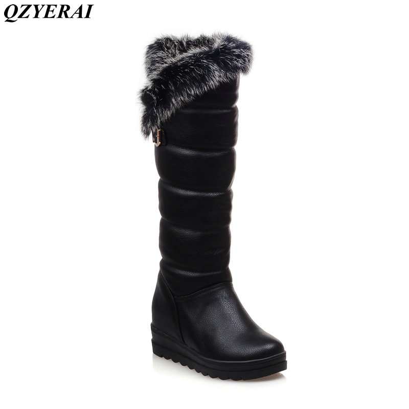 QZYERAI European winter to the knee to keep warm snow boots rabbit hair women's boots anti-skid shoes waterproof women's shoes chbaby babysing yoyo yuyu vovo umbrella car cart set winter cover against wind and snow to keep warm the feet