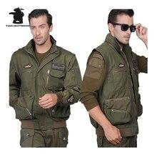 Militärischen männer Jacke Amerikanischen Air Force Piloten Armee Jacke Für Männer Plus Größe Mantel Abnehmbaren Ärmeln M ~ 3XL D35F7717