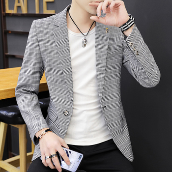 custom A New Small Suit for Men in the Spring Festival of 2019 with Chequered Single Suit for Men and Leisure Suit Men Blazers